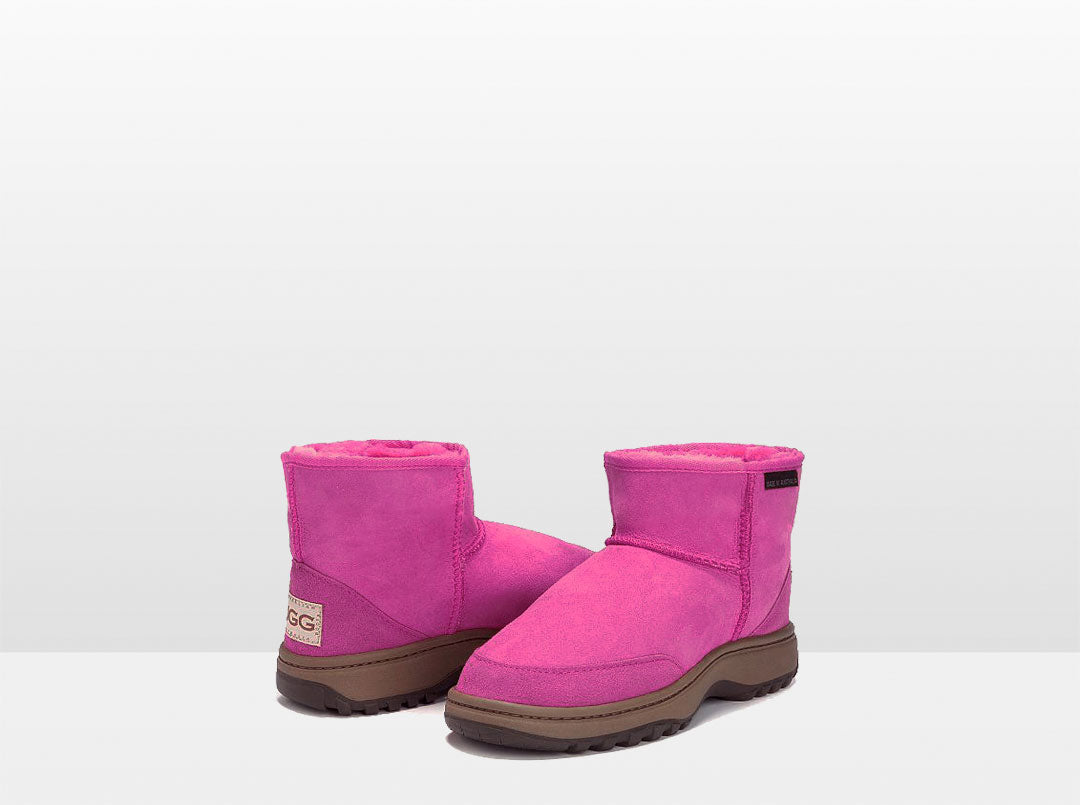 Adults Bright Rose Classic Ultra Short Ugg Boots with Outdoor Sole