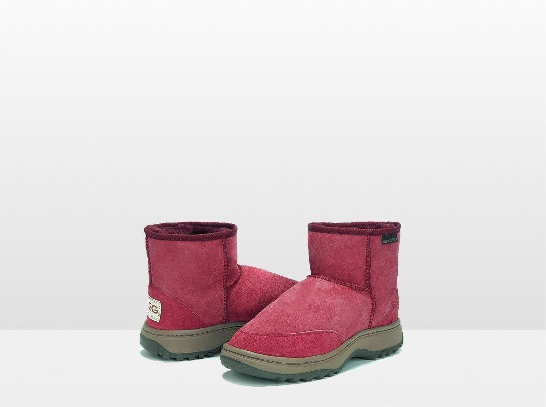 Adults Burgundy Classic Ultra Short Ugg Boots with Outdoor Sole