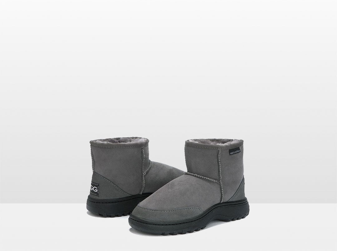Adults Grey Classic Ultra Short Ugg Boots with Outdoor Sole