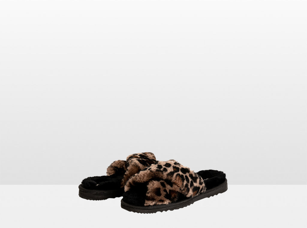 Aussie Uggies Adults Peekaboo Slipper Black Leopard