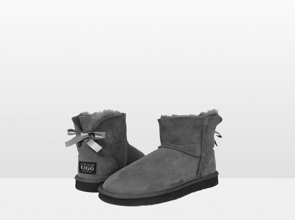 Adults Grey Classic ankle Bow Ugg Boot