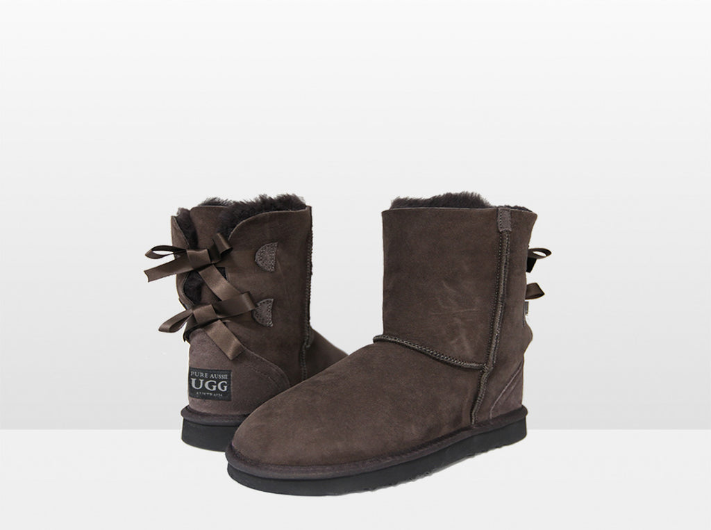 Adults Chocolate Classic Mid Bow Ugg Boot