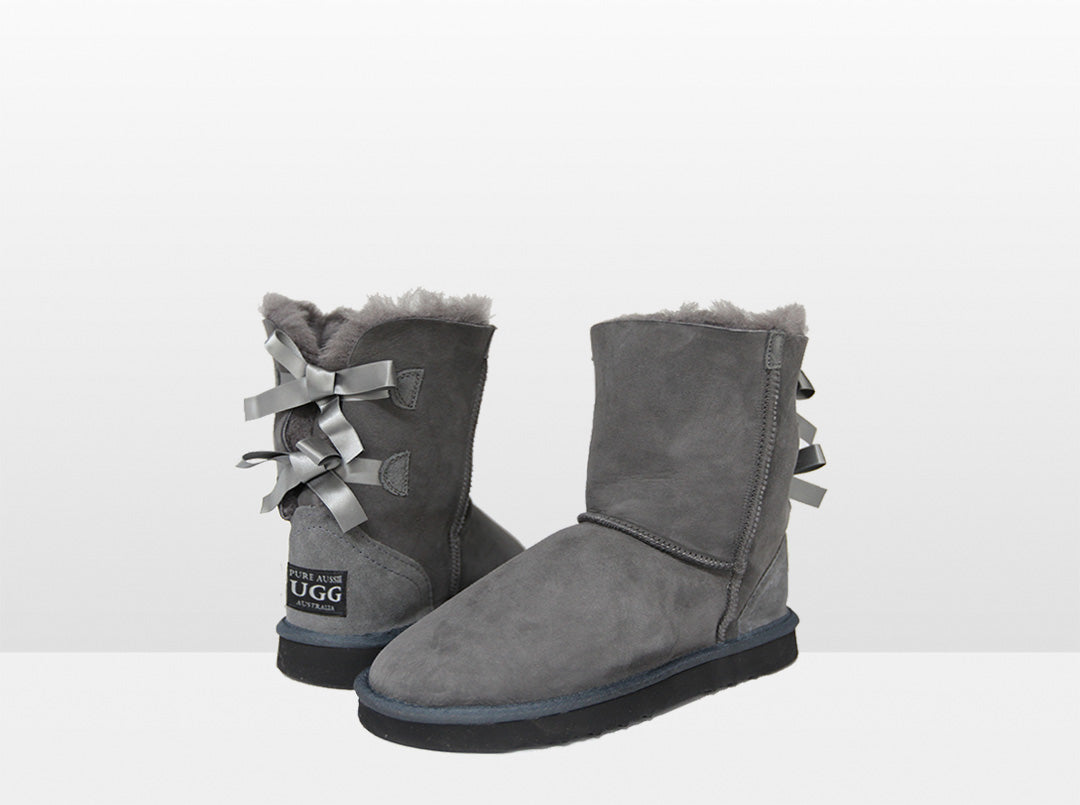 Adults Grey Classic Mid Bow Ugg Boot