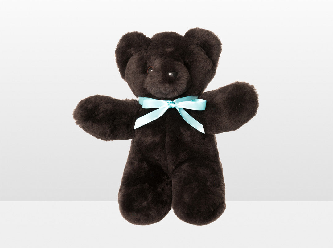 Kids Chocolate Sheepskin Basil Bear Large with Blue Ribbon