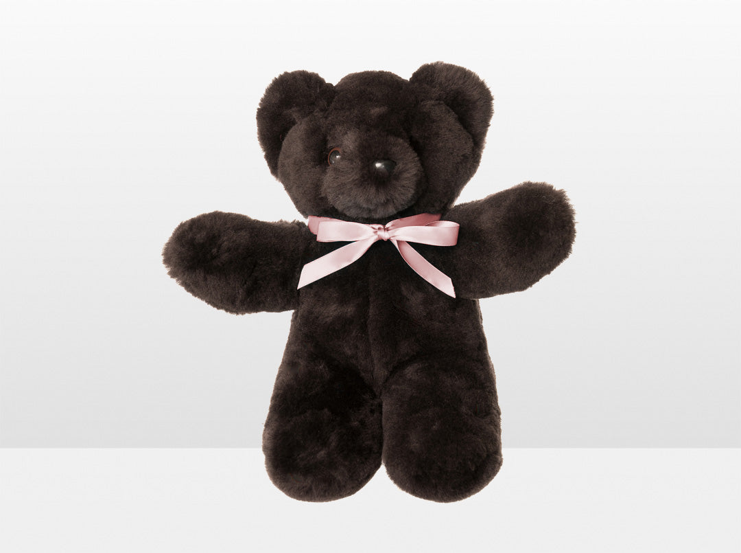 Kids Chocolate Sheepskin Basil Bear Large with Pink Ribbon