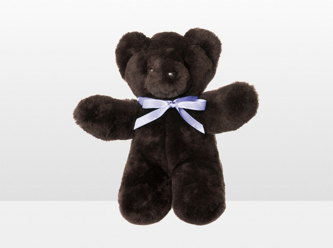 Kids Chocolate Sheepskin Basil Bear Large with Purple Ribbon