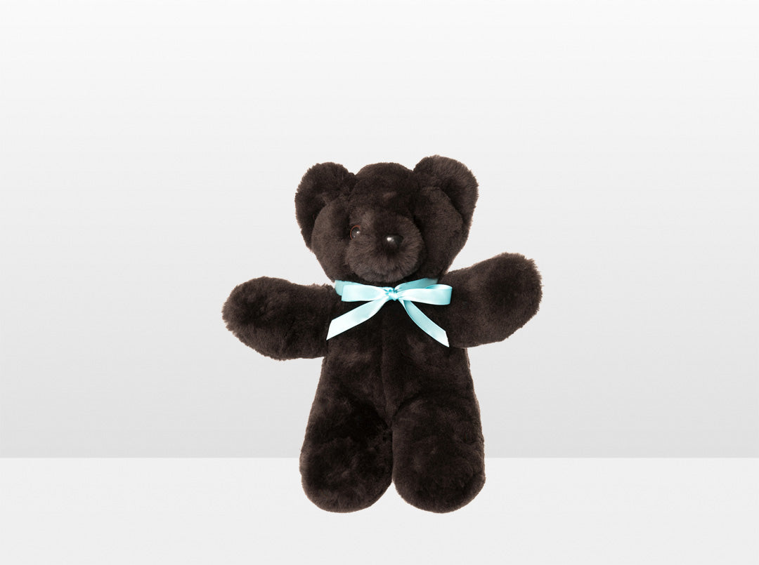 Kids Chocolate Sheepskin Basil Bear Small with Blue Ribbon
