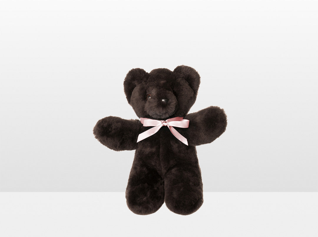 Kids Chocolate Sheepskin Basil Bear Small with Pink Ribbon