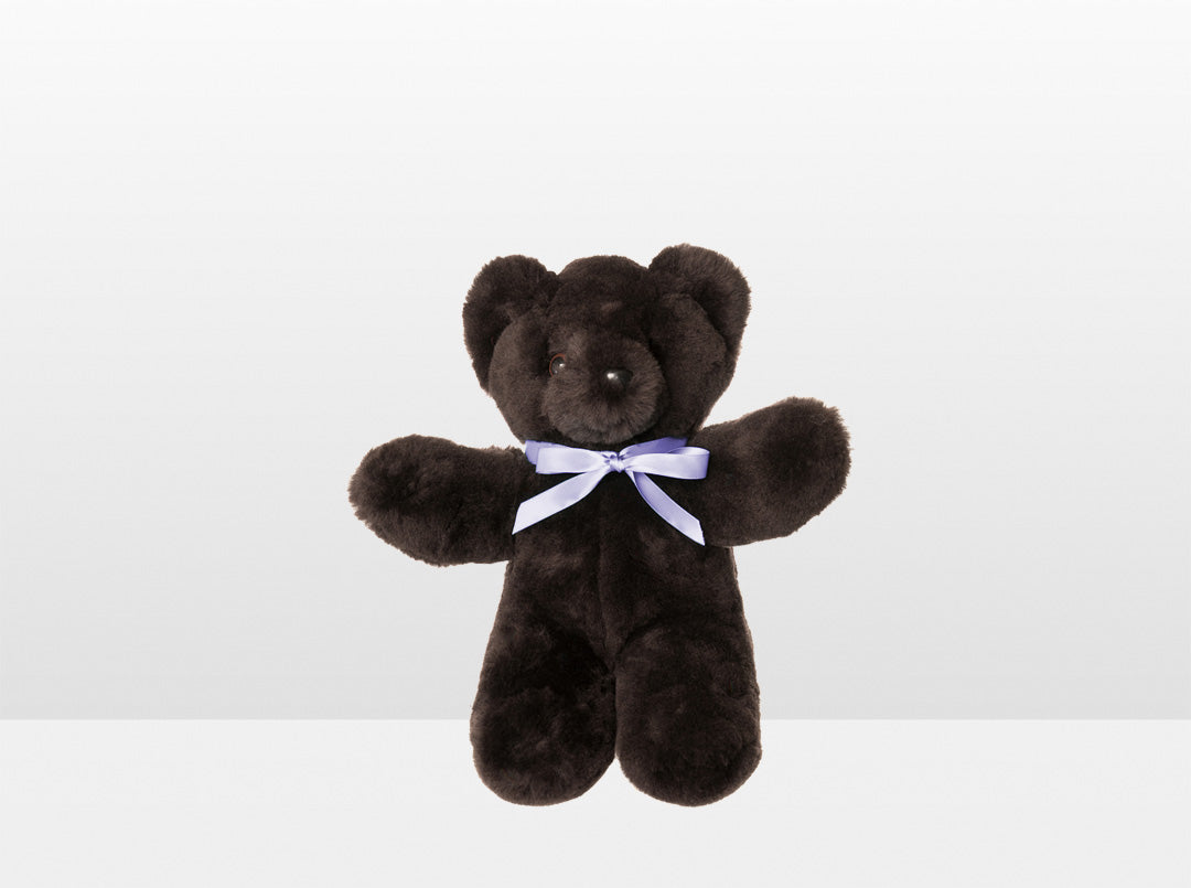 Kids Chocolate Sheepskin Basil Bear Small with Purple Ribbon