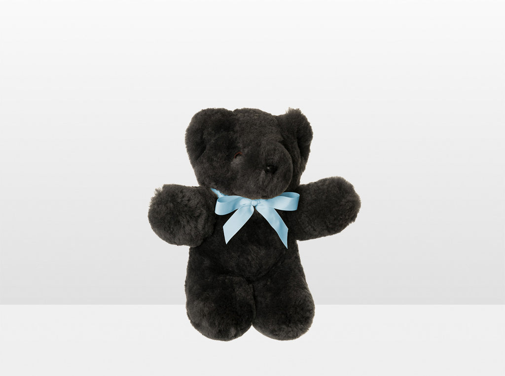 Kids Dark Grey Sheepskin Basil Bear Small with Blue Ribbon