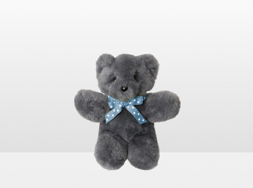 Kids Mid Grey Sheepskin Basil Bear Small with Blue Ribbon