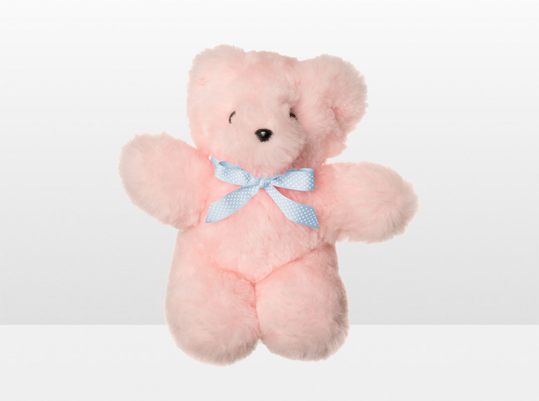 Kids Pink Sheepskin Basil Bear Large with Blue Ribbon