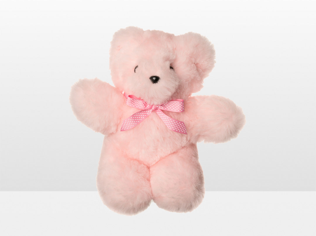 Kids Pink Sheepskin Basil Bear Large with Pink Ribbon