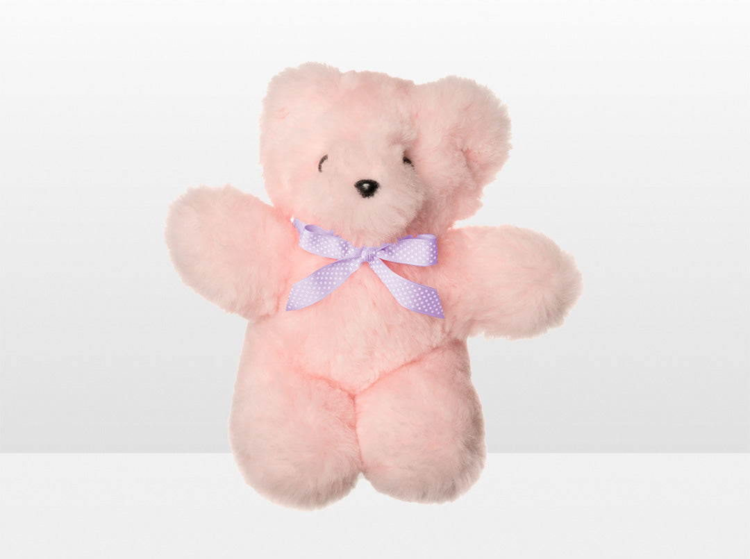 Kids Pink Sheepskin Basil Bear Large with Purple Ribbon