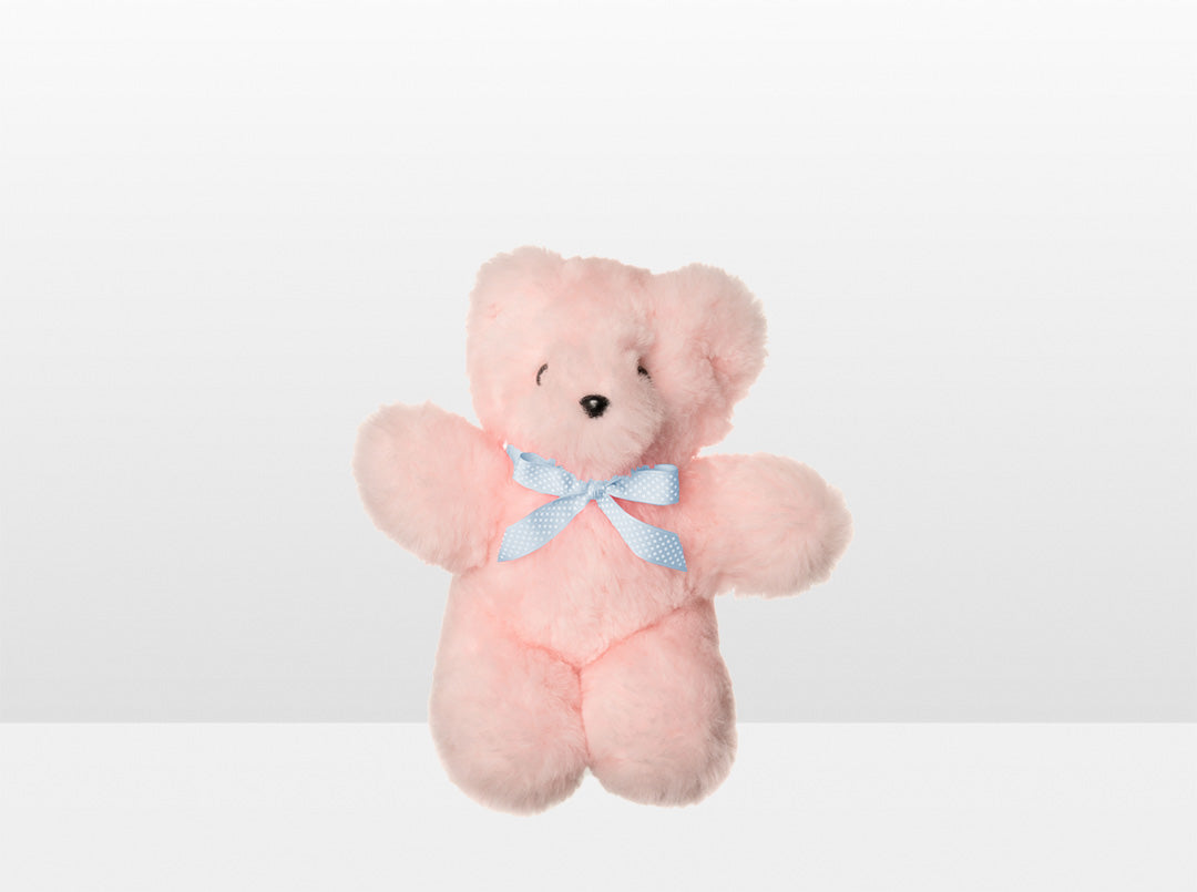 Kids Pink Sheepskin Basil Bear Small with Blue Ribbon