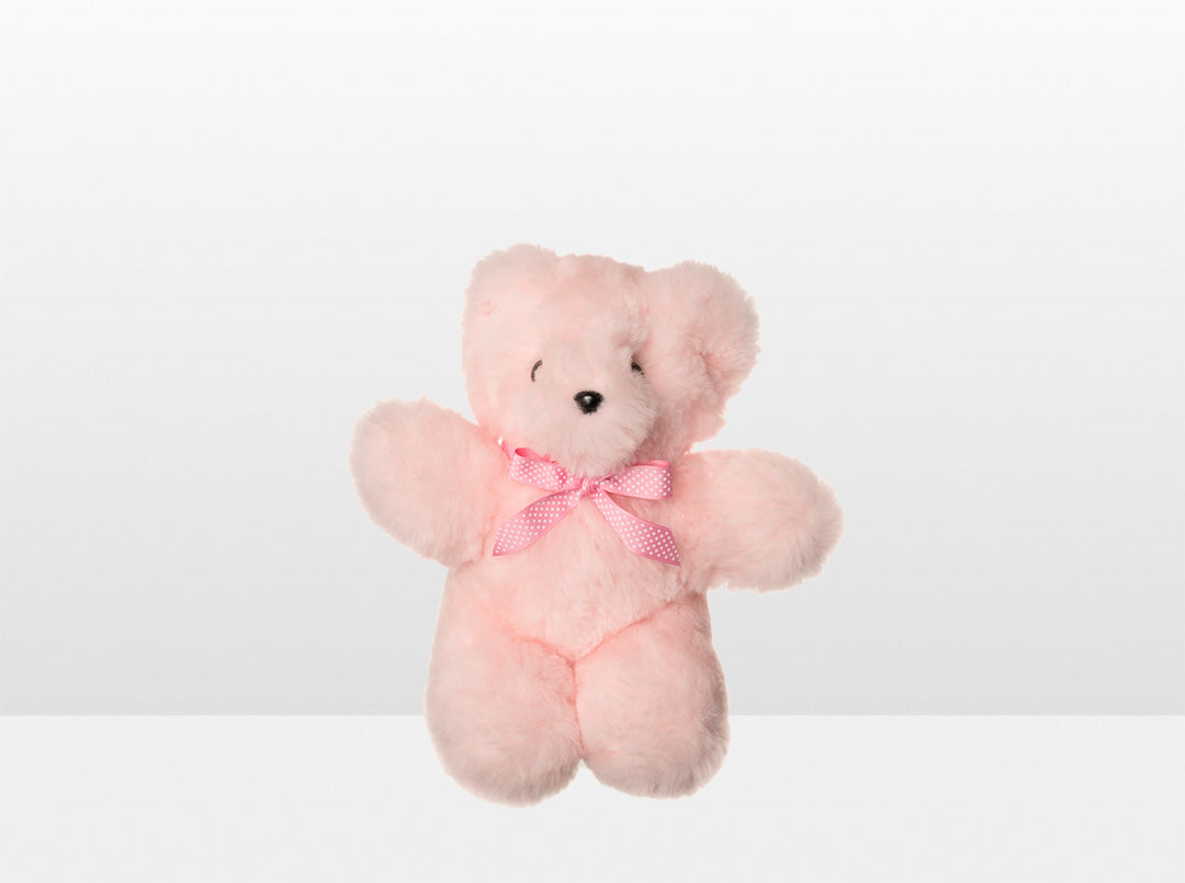 Kids Pink Sheepskin Basil Bear Small with Pink Ribbon