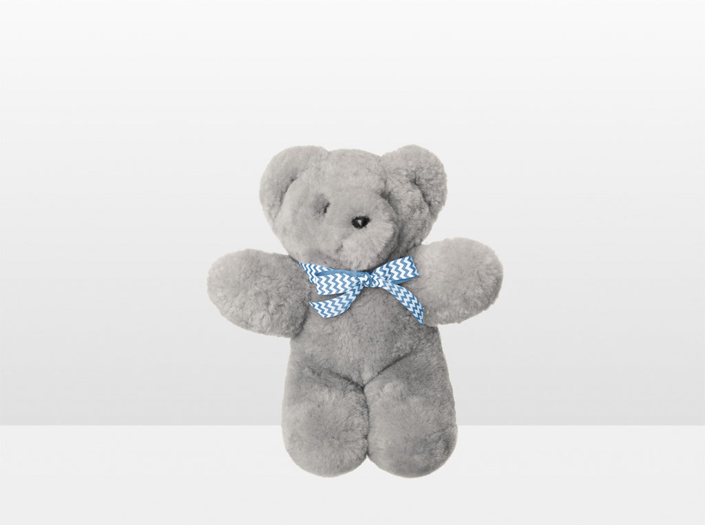 Kids Silver Fox Sheepskin Basil Bear Small with Blue Ribbon