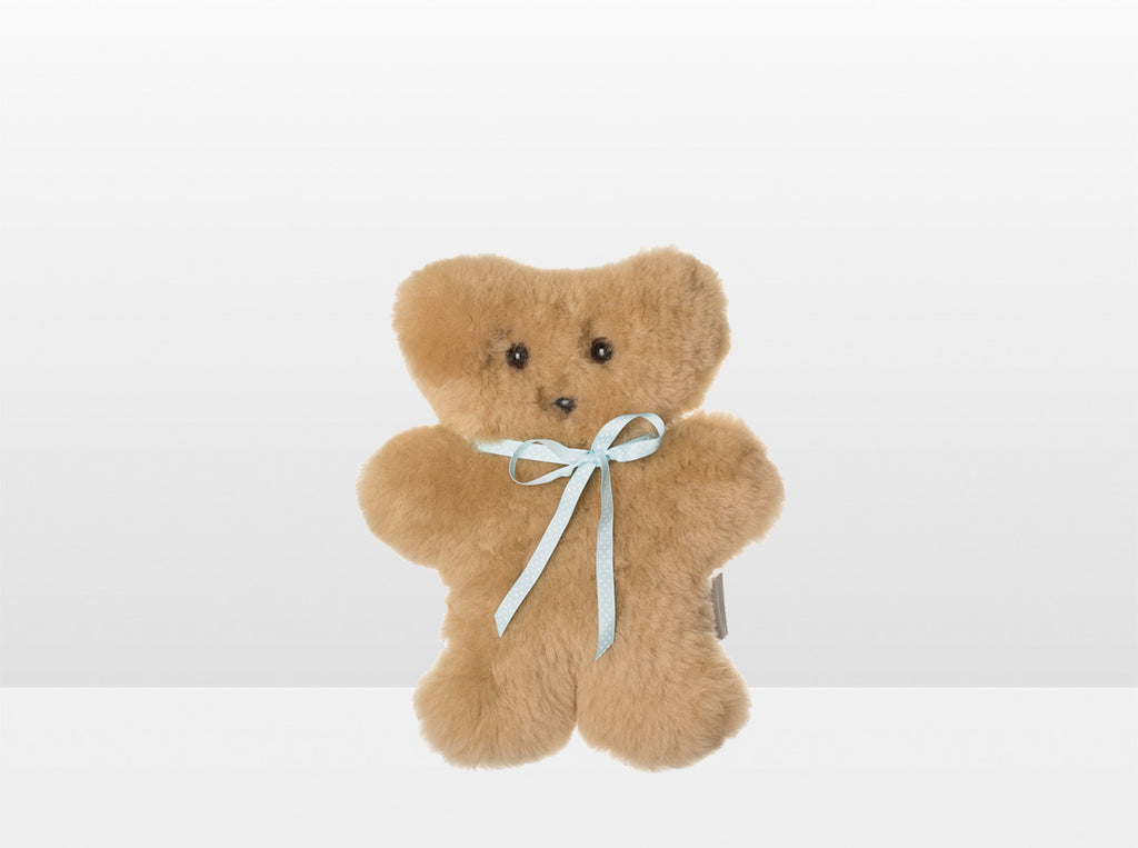 Kids Honey Sheepskin Flat Bear with Blue Ribbon