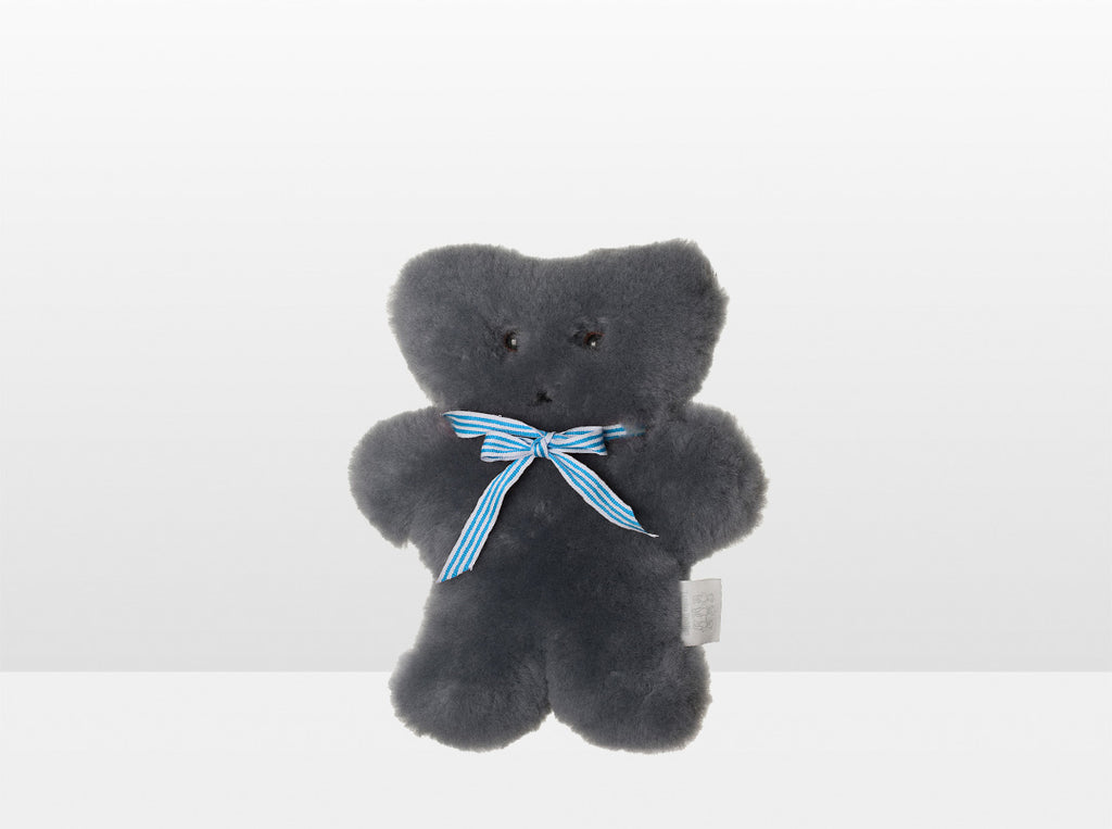 Kids Mid Grey Sheepskin Flat Bear with Blue Ribbon