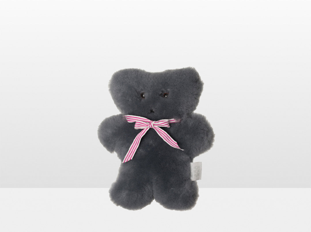 Kids Mid Grey Sheepskin Flat Bear with Pink Ribbon