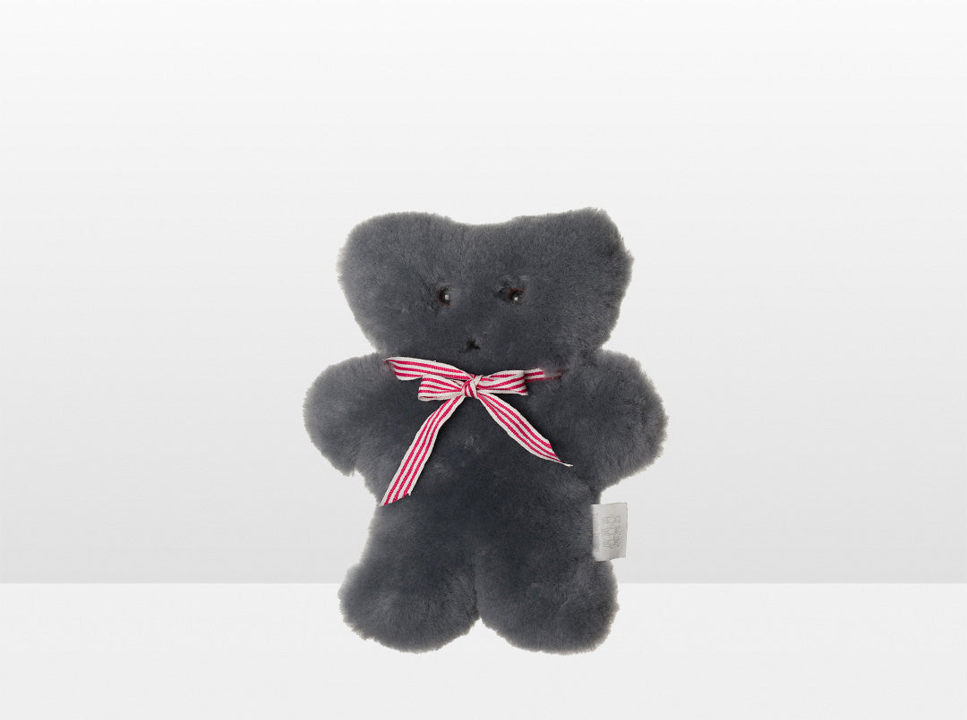 Kids Mid Grey Sheepskin Flat Bear with Red Ribbon