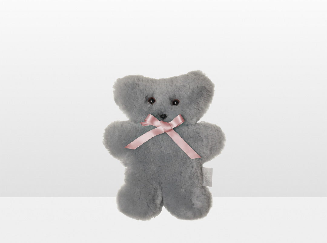 Kids Silver Fox Sheepskin Flat Bear with Pink Ribbon