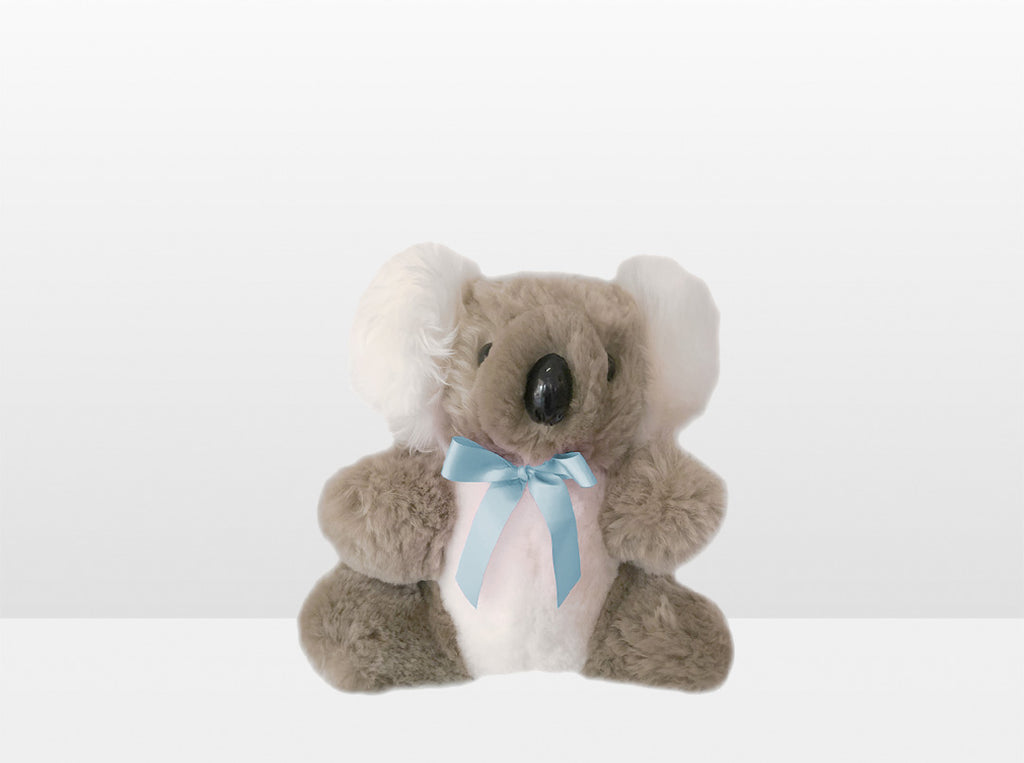 Kids Bamboo Sheepskin Koala Bear Small with Blue Ribbon