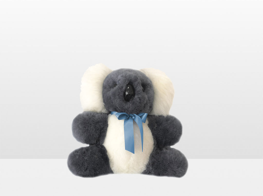 Kids Mid Grey Sheepskin Koala Bear Small with Blue Ribbon