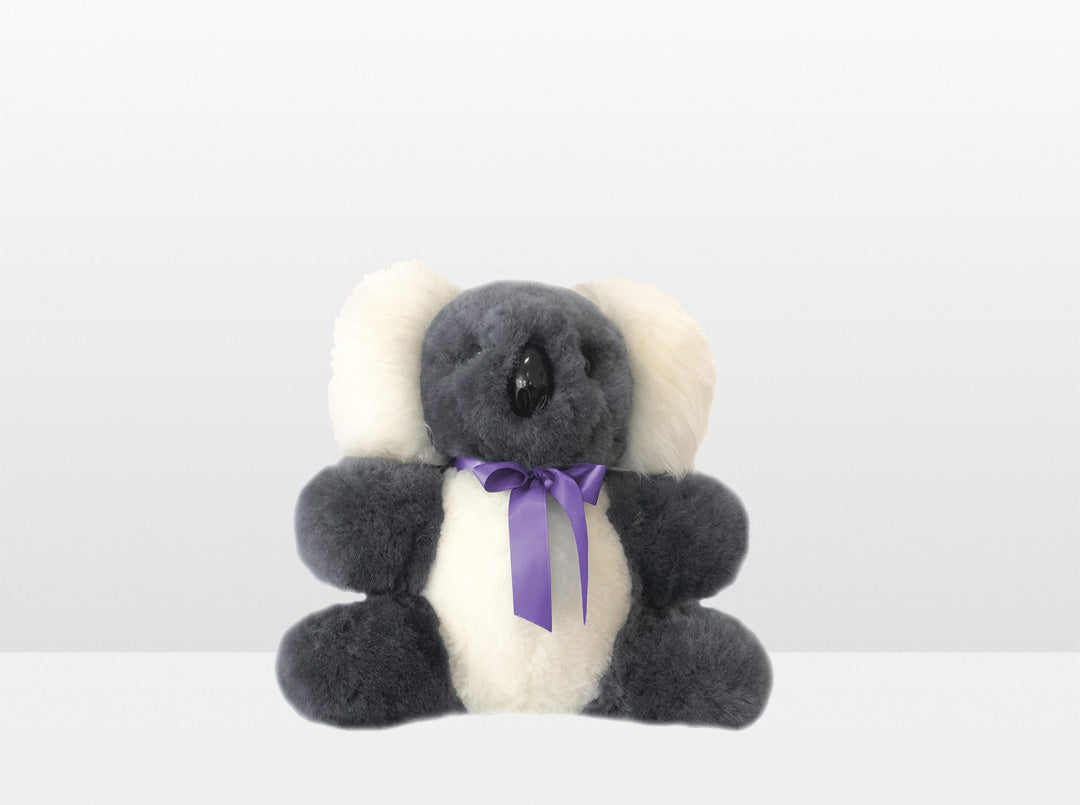 Kids Mid Grey Sheepskin Koala Bear Small with Purple Ribbon