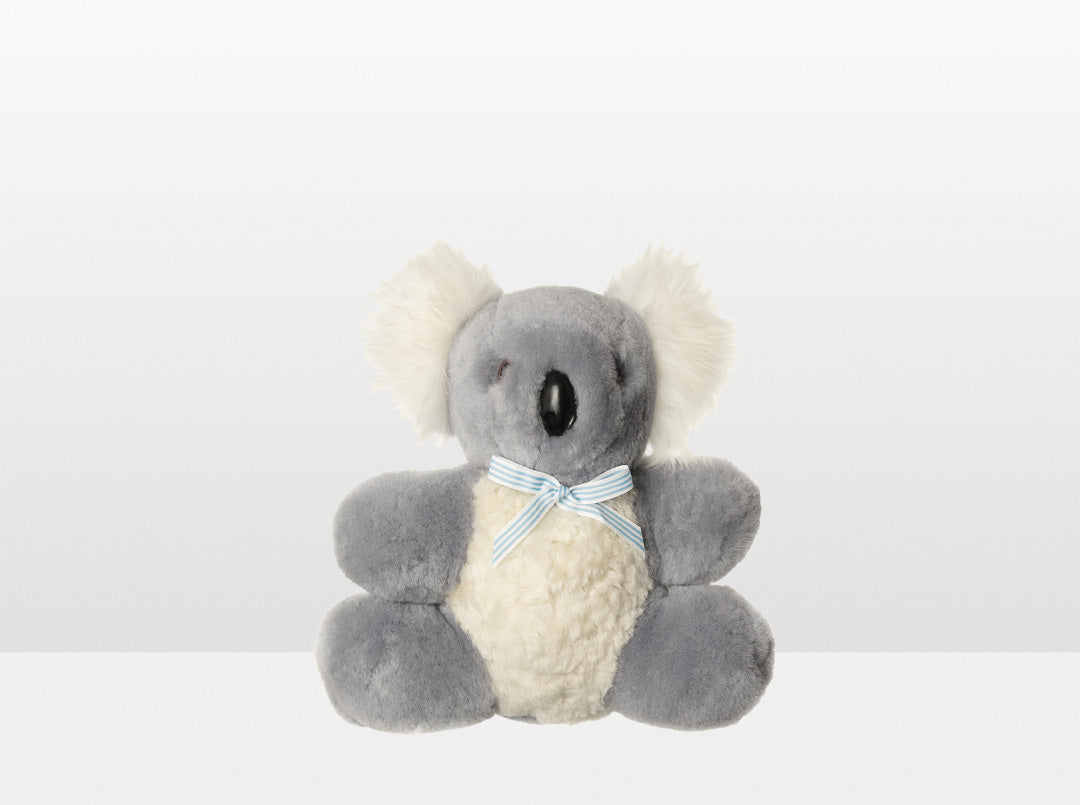 Kids Silver Fox Sheepskin Koala Bear Small with Blue Ribbon