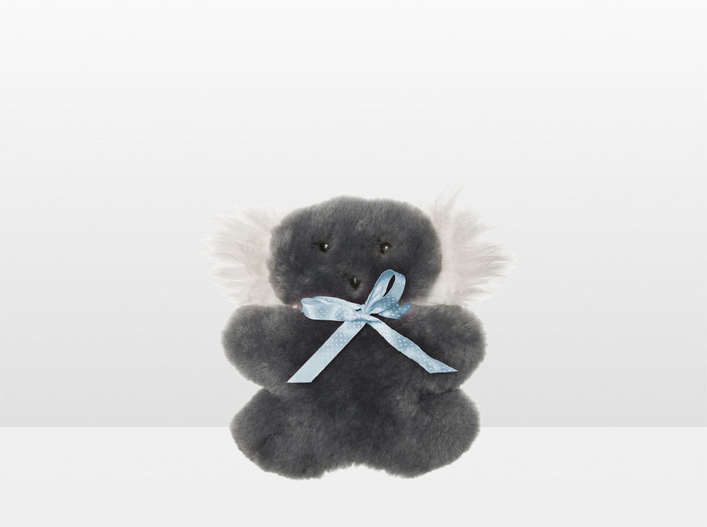 Kids Mid Grey Sheepskin Flat Koala with Blue Ribbon