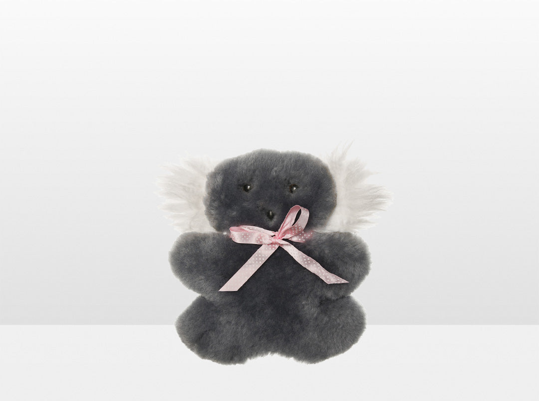 Kids Mid Grey Sheepskin Flat Koala with Pink Ribbon
