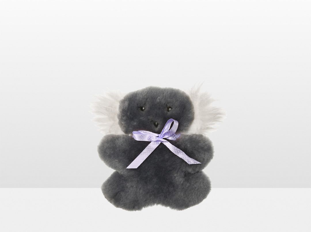 Kids Mid Grey Sheepskin Flat Koala with Purple Ribbon