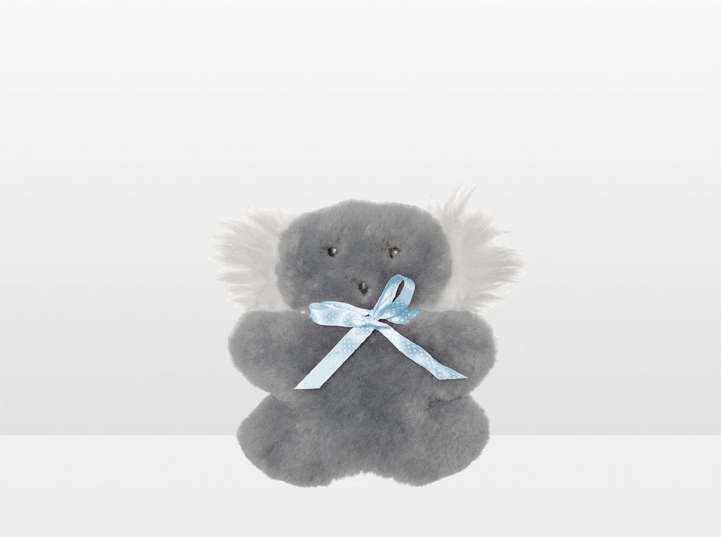 Kids Silver Fox Sheepskin Flat Koala with Blue Ribbon