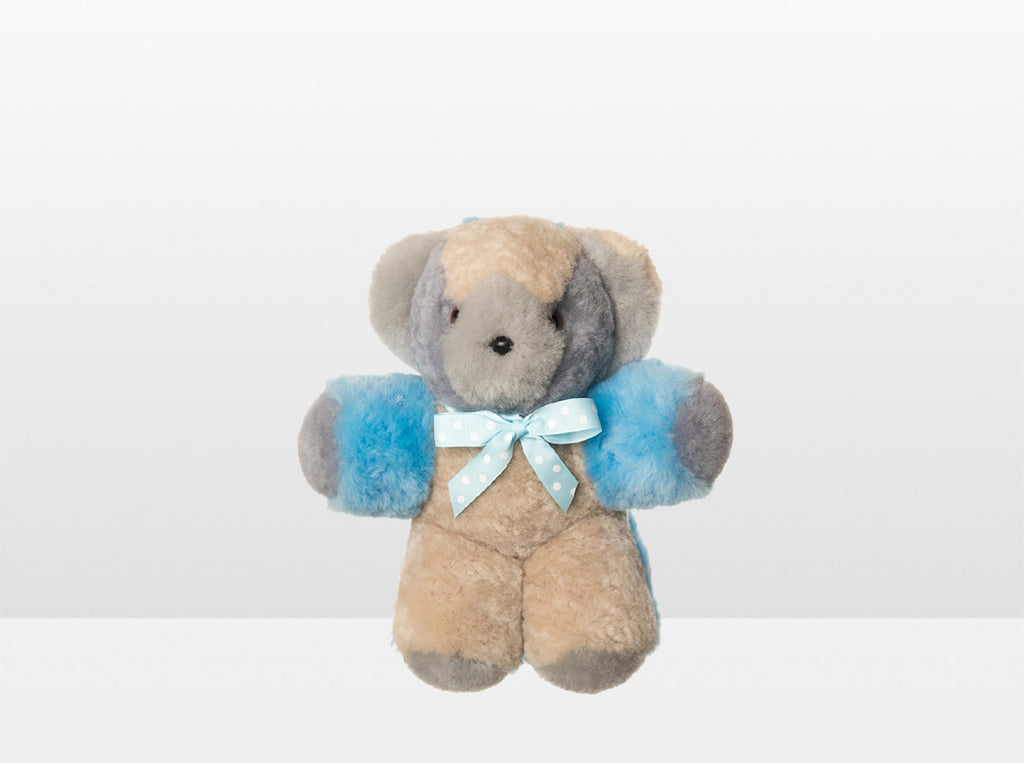 Kids Blue Patch Sheepskin Toby Bear Small with Blue Ribbon