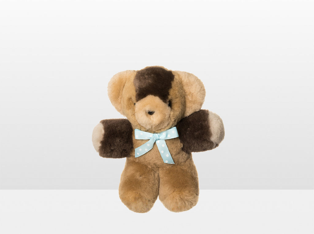 Kids Neutral Patch Sheepskin Toby Bear Small with Blue Ribbon