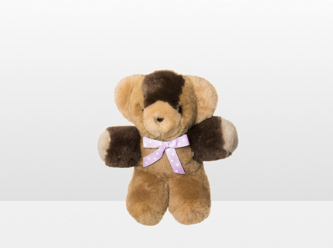 Kids Neutral Patch Sheepskin Toby Bear Small with Pink Ribbon