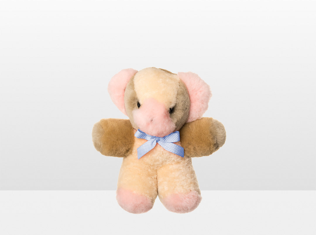 Kids Pink Patch Sheepskin Toby Bear Small with Blue Ribbon