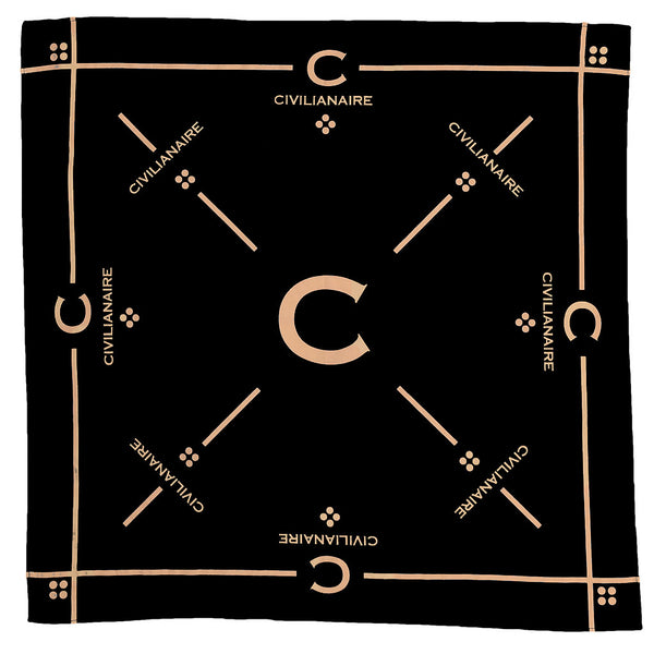 "25"" x 25"" Silkscreened Cotton Bandana - Black"
