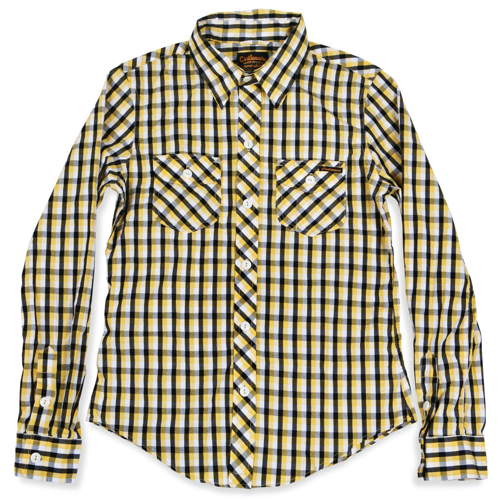 Beverly Black and Yellow Check Spade Pocket Women's Flannel by Civilianaire