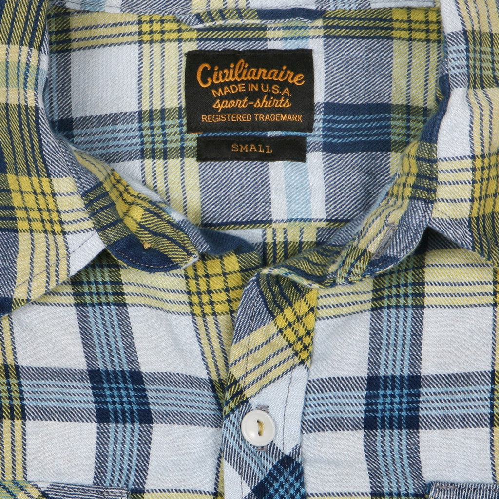 Women's Shelton Blue & Yellow Plaid Spade Pocket Shirt by Civilianaire collar detail