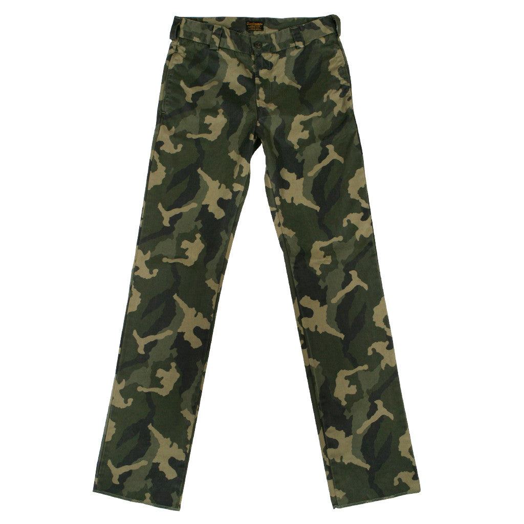Men's Camo Military Olive Officer Slim Chino Trousers by Civilianaire