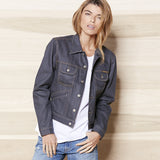 Women's 5 Pocket 13.5 oz Gold Selvage Denim Ranch Jacket - Grey