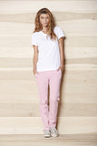 Women's Sateen Pink Clover Military Pant by Civilianaire on model