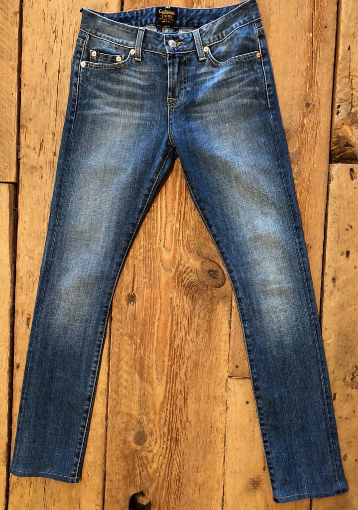 11 oz Gold Selvage Denim Super Slim Stretch Jean 9.5 F-Rise  - INDIGO VINTAGE GB WASH