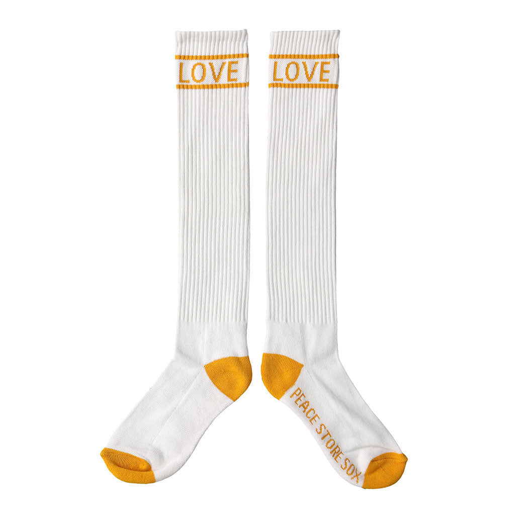 "PEACE STORE KNEE HIGH ""LOVE"" SOX - GOLD"