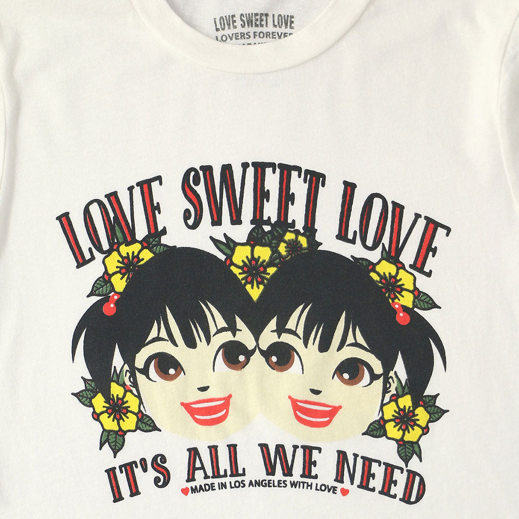 "LOVE SWEET LOVE ""IT'S ALL WE NEED"" Long Sleeve Crew Neck - #1052 WHITE NATURAL"