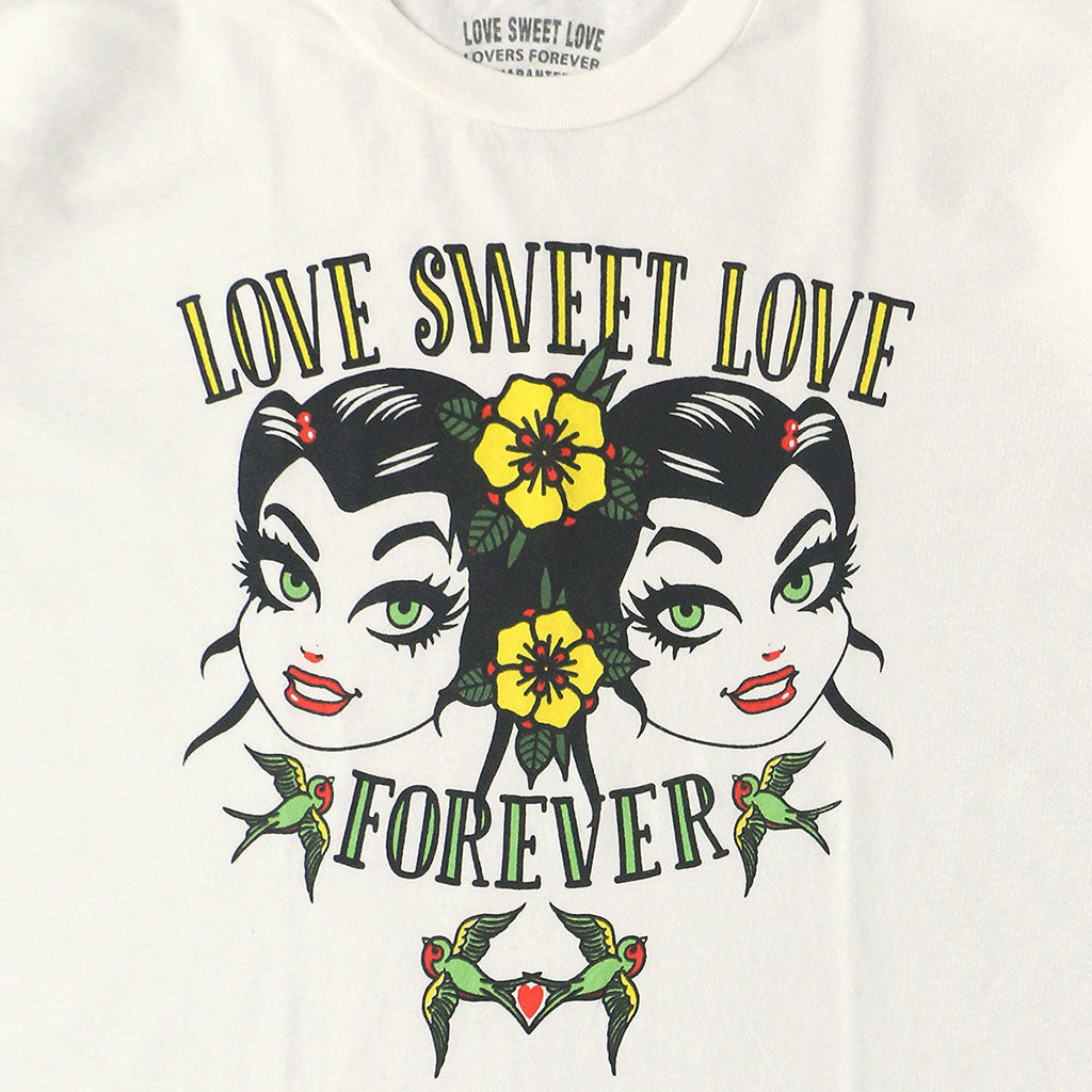 "LOVE SWEET LOVE ""FOREVER"" Long Sleeve Crew Neck - #1052 WHITE NATURAL"