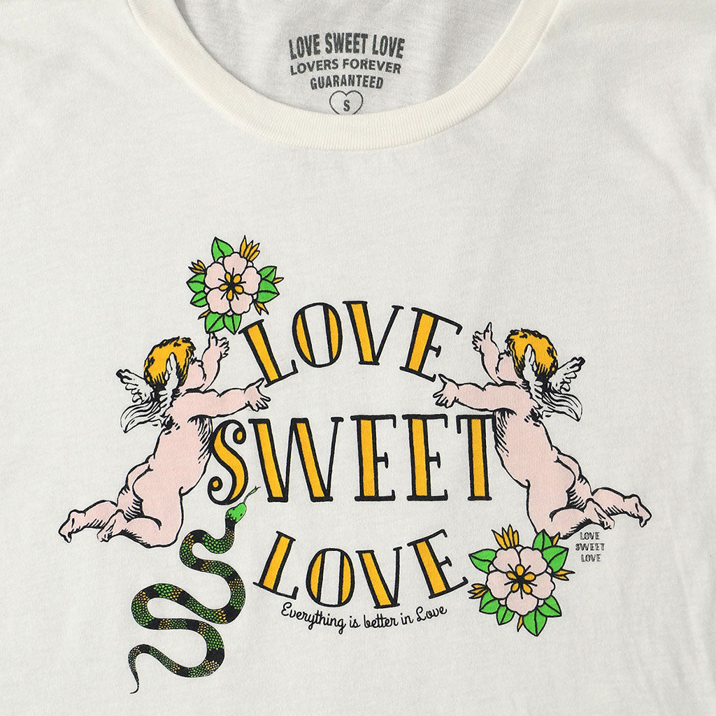 "LOVE SWEET LOVE ""ANGELS"" Long Sleeve Crew Neck - #1052 NATURAL WHITE"