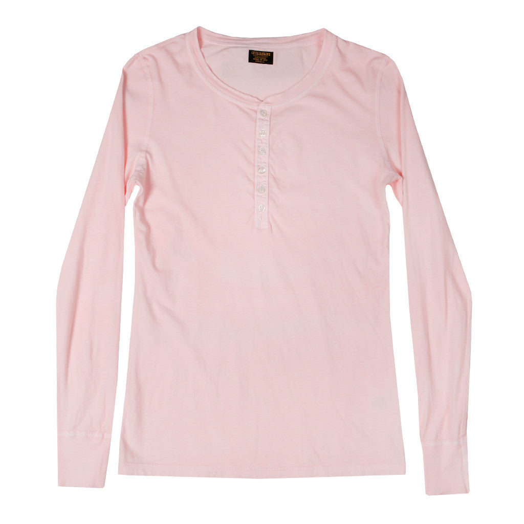 Long Sleeve Ringspun Cotton Banded Henley - Barley Pink